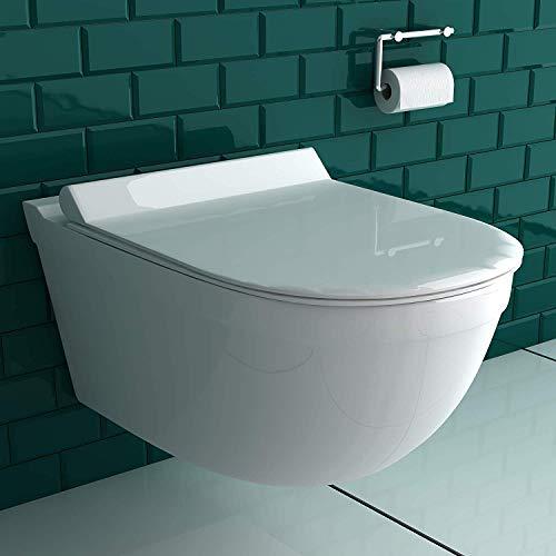 Alpenberger Spülrandloses Hänge-WC inkl. Quick-Release WC-Sitz mit Absenkautomatik   Tiefspül-Wand-WC mit Befestigungsset   Kein Überspritzen durch ideale Wasserführung   passend zu GEBERIT