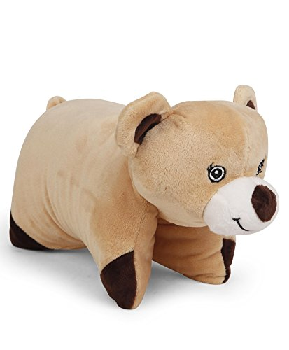 Teddy Bear Foldable Plush Cushion packed in PolyBag for Children of Age of 1 year onwards | Imported Premium Quality | Certified Safe as per European Safety Standards (EN71) | Fun and Huggable Soft Pi