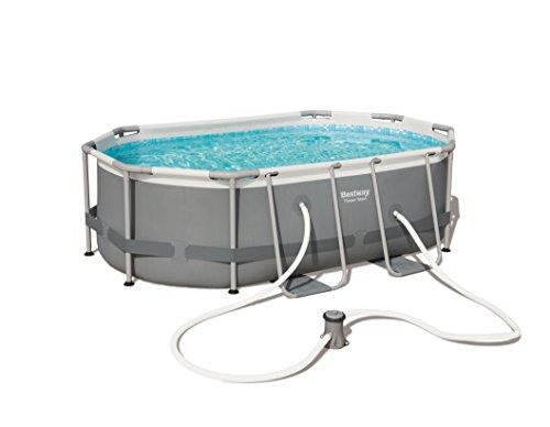 Bestway 56617-GS19 Power Steel Pool 300x200x84 cm, Ovaler Stahlrahmenpool-Set mit Filterpumpe, Grau