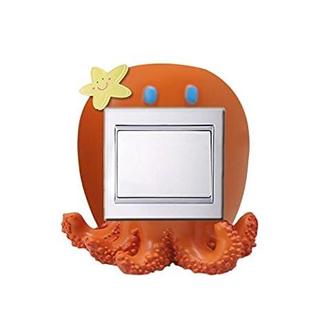 Ocean Série-Octopus résine murale décorative ménages Commutateur Sticker, 2PCS