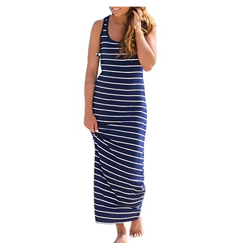 Bekleidung Longra Damen Sommerkleid Ärmellos gestreiftes lose langes Strandkleider beiläufiges T-shirt-Kleid (M, Blue) (Kleid Blau Gestreiften Shirt)