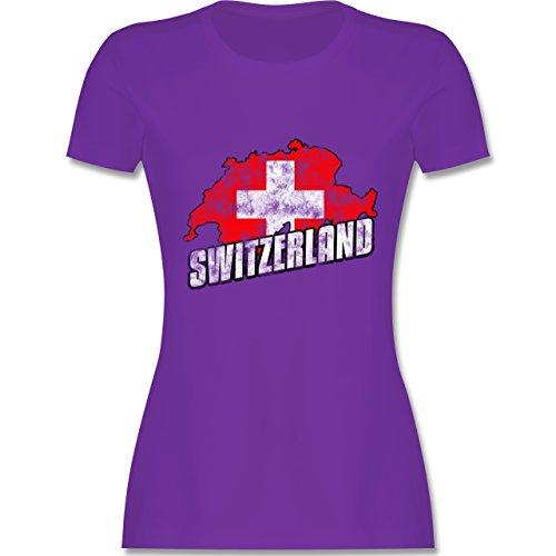 EM 2016 - Frankreich - Switzerland Umriss Vintage - tailliertes Premium T-Shirt mit Rundhalsausschnitt für Damen Lila