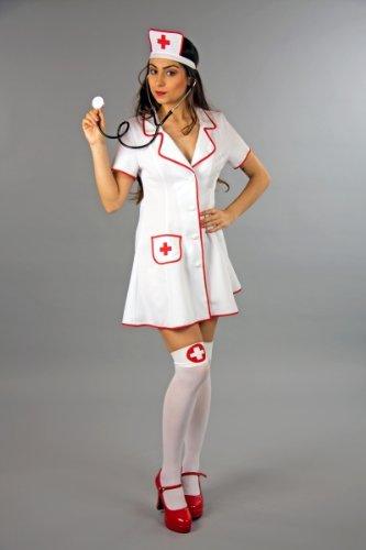Kleid und Häubchen (Krankenschwester Patient Kostüm)