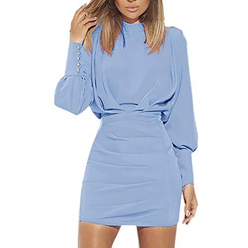 VJGOAL Damen Kleiden, Frauen Solid Lässig Hüfte Minikleid Mode Trend Abendkleid Bördeln Lange Ärmel O-Kragen Kleiden(Blau,38)