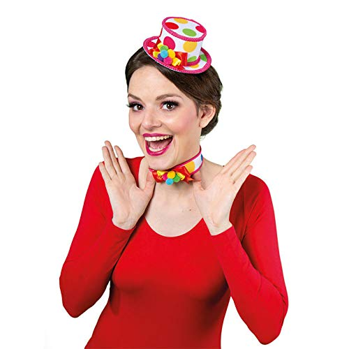 WOOOOZY Hut Mini-Zylinder bunter Clown, mit Haarclips