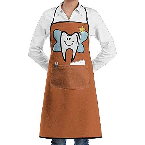 UQ Galaxy Küchenschürze,Cartoon Zahnfee Schürze Spitze Erwachsener Chef Einstellbare Lange Voll Schwarz Kochen Küchenschürzen Lätzchen Mit Taschen zum Backen Crafting BBQ