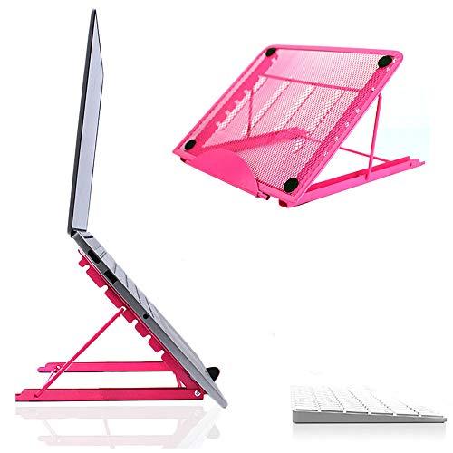 Jumkett Laptop-Ständer, faltbar, tragbar, belüftet, universal, leicht und verstellbar, ergonomische Halterung, kompatibel mit iM(ac)/Laptop/Notebook Computer/Tablet Rose