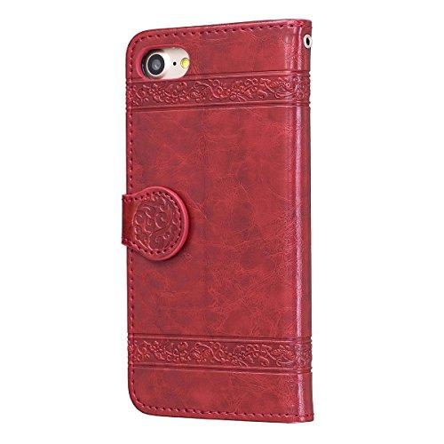 """MOONCASE iPhone 7 Coque, [Style Rétro] Durable PU Cuir Flip Housse TPU Souple Anti-dérapante Shock Absorption Protection Etui Case pour iPhone 7 4.7"""" Or Rouge"""