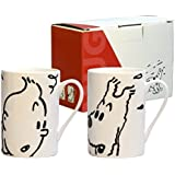 Set de dos tazas mugs porcelana Tintín y Milú Negro y Blanco (47948)