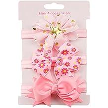 erthome 3Pcs Kinder elastisches Blumen Stirnband Haar M/ädchen Baby Bowknot Haarband Set Haarnadel