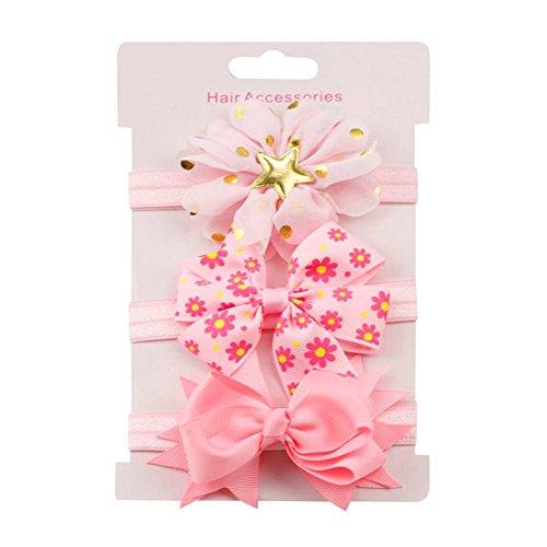 erthome Baby Haarnadel, Kinder elastisches Blumen Stirnband Haar Mädchen Baby Bowknot Haarband Set 3Pcs (Rosa)