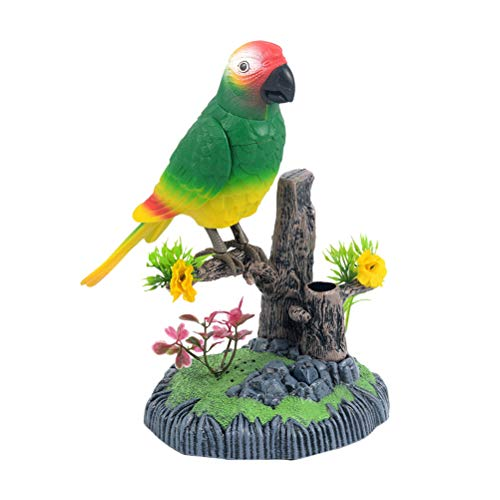 TOYANDONA Singende und Zwitschernder Vogel Figur mit Stifteköcher Geräusche Bewegung Batterie Betrieben Spielzeug Papagei Tischdeko - Ohne Batterie (zufällige Farbe) - Betrieben Spielzeug Batterie