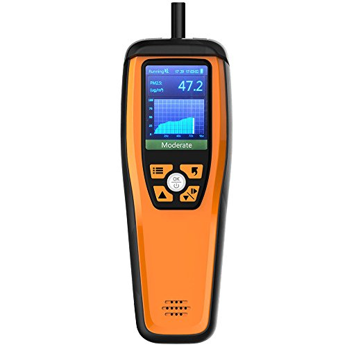Luftqualität Messgerät-Therm Luftqualität-Monitor für PM2.5 PM10 Partikel CO2 HCHO Temperatur Luftfeuchtigkeit einstellbar Audio Alarm Recording Curve Einfache Kalibrierung bunte Display -