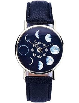 Sunnywill Frauen Lunar Eclipse Muster Leder Analog Quarz Armbanduhr Schwarz …