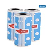 Docooler Cute Cartoon Direct Thermal Labels Roll 57 * 30mm(2.17 * 1.18in) Strong Adhesive Sticker Clear Printing for PeriPage A6 Pocket BT Thermal Printer, 3 Rolls