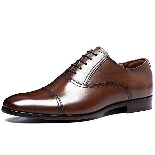 Desai Classic Oxford Herren Echtes Leder Schuhe Business Lace-up Kleid Schuhe Casual Hochzeit Spitz Zeh 43.5EU Braun (Schuhe Casual Braun)