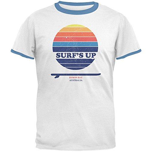 Surf up Byron Bay Australien Mens Ringer T Shirt Weiß-Sky MD