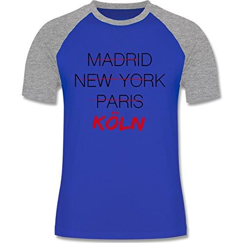 Städte - Weltstadt Köln - zweifarbiges Baseballshirt für Männer Royalblau/Grau meliert