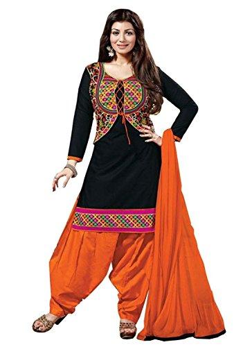 Marvadi Fancy Attractive Designer Black Cotton Semi-Stitched Partywear Wedding Patiala Salwar Suit