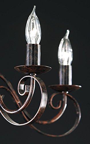 Honsel Leuchte Kronleuchterform 8 flammig, rostfarbig antik - 4
