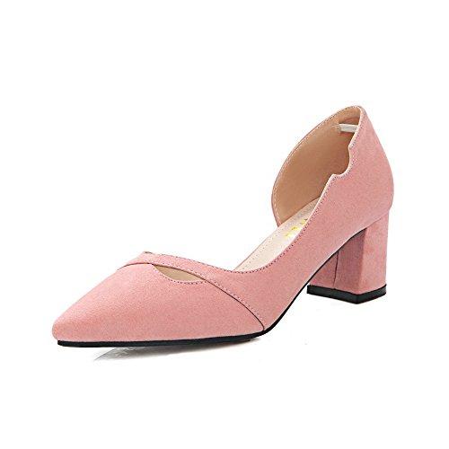 AalarDom Femme Suédé Dépolissement Couleur Unie Tire Pointu à Talon Correct Chaussures Légeres Rose-Évidement