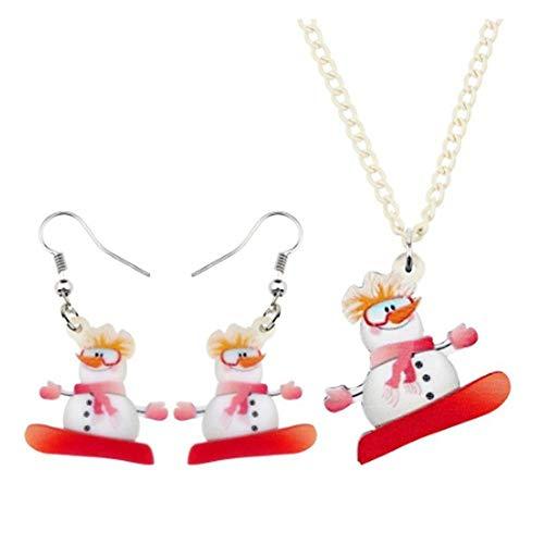 NAOZHONGa Acryl Weihnachten Skateboard Schneemann Schmuck Sets Halskette Ohrringe Mädchen Party Geschenk Dekorationen