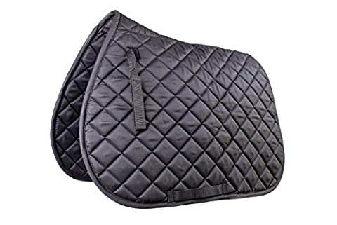 Horse Saddle Pad, Quilted, 100% Cotton, Full Size, Black