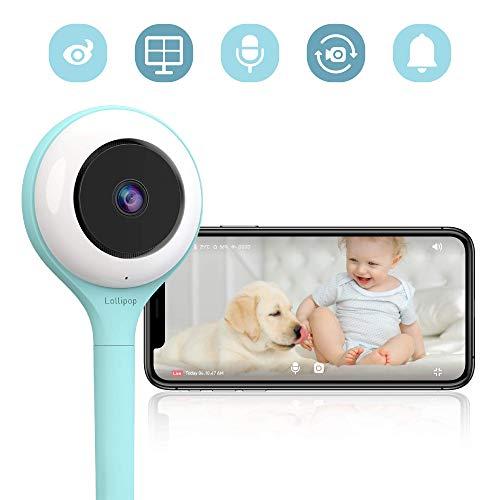 Lollipop camera, HD-WLAN-Baby/Haustier-Überwachungskamera (Türkis), unterstützt 2 Kameras/Nachtsicht/Geräusch- und Schreierkennung/2-Wege-Kommuinikation, Wandmontage