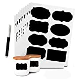 80 Pcs Küche Etiketten Selbstklebende Küchen Aufkleber in Verschiedenen Formen und Größen, mit 1 Löschbar Kreidemarker, Sticker Für Haushalts, Flasche,Dosen,Schilder, Geschenkaufkleber(schwarz,10)