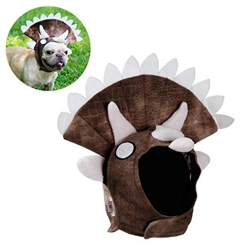 Comtervi Hund Halloween-Hut Turban Hund Triceratops Haustier Kopf Abdeckung Methode Stierkampf Golden Retriever Dinosaurier Transfiguration