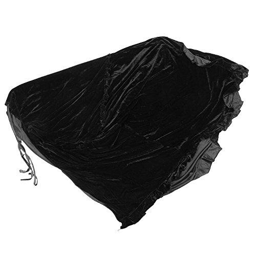 Cubierta de Piano - TOOGOO(R) Completo Piano Cubierta Pleuche Decorado con Macrame por Universal Piano Vertical Erguido Negro