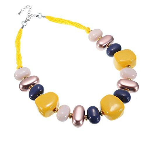 Jerollin collana da donna girocollo con pietra e resina giallo