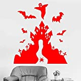 yaoxingfu Happy Halloween Castle Bat Wandaufkleber Vinyl Wohnkultur Kinderzimmer Schlafzimmer...