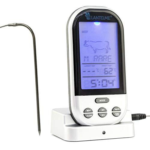 Lantelme Digital Funk Backofen Grill Braten Thermometer Sender Edelstahl Fühler Temperaturbeständig bis 250 °C 7688