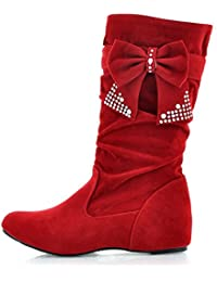 Easemax Damen Modisch Langschaft Metall Accessoire Strass Stiefel Mit Absatz Rot 39 EU