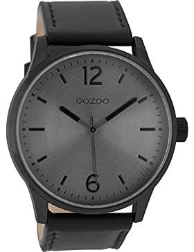 Oozoo Herrenuhr mit Lederband 46.5 MM Black/Silbergrau/Schwarz C9049