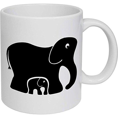 Azeeda 320ml 'Elefantes' Taza de Ceramica (MG00003819)