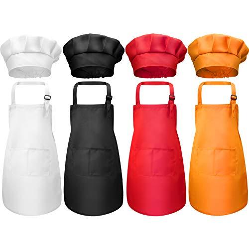 8 Pezzi Bambini Grembiule e Set Cappello da Cuoco, Ragazzi Regolabile Grembiuli in Cotone per Bambini con Grembiuli da Cucina a 2 Tasche per Indossare Abbigliamento da Cucina (Colore 1, Medio)