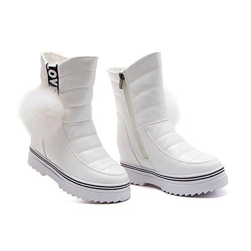 Damen Stiefeln Schöne Dicke Sohle Plüsch Reißverschluss Winter Schneestiefeln Weiß
