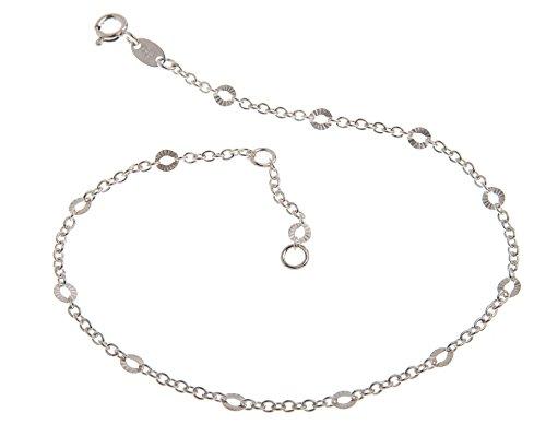 Fußkette Silber (Erbskette) mit Schliff - 2mm Breite - Länge wählbar 23-30cm - echt 925 Silber
