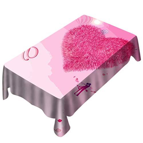 Makefortune Tischdecke, romantische Valentinstag Tischdecke, Print Rechteck Tisch decken Urlaub Party Home Decoration