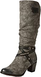 Rieker Damen 96054 Warm gefüttert Classics Langschaft Stiefel und Stiefeletten, Grau (Smoke/Black/45), 42