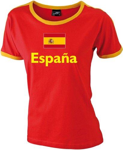Spanien Espana Damen Retro T-Shirt WM 2014 rot-gelb|s