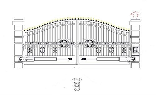 Drehtorantrieb Set für zweiflügelige Tore bis 5m und 300 kg pro Flügel mit Lampe