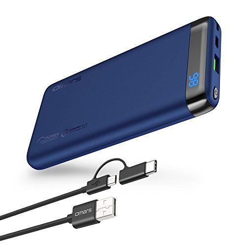 Omars Powerbank Carica Veloce 10000mAh con Porta USB C da 18W PD 2.0, USB A Porta QC3.0 Caricabatterie Portatile per iPhone X 8 7 Plus 6s 6 SE 5 iPad Air Mini Samsung Galaxy S9 S8 S7 edge S6 Smartphone