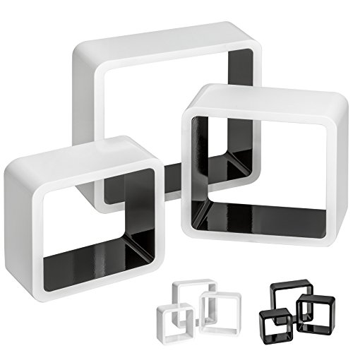 TecTake Lot de 3 étagères cubes murales livres salon cubes lounge CD - diverses couleurs au choix - (Noir-Blanc | No. 401591)
