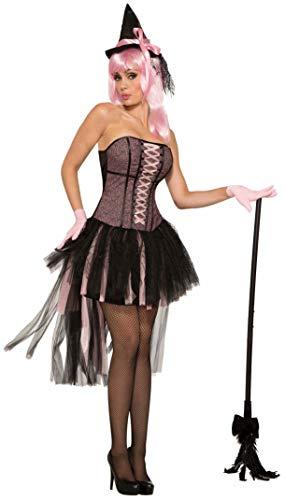 Up Kostüm Pin Hexe - Forum Novelties AC80843 Hexe Pin Up Kleid, Damen, Schwarz, Rosa