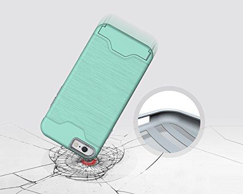 iPhone 7Plus Coque, Liyingkeji antichoc fin à double couche hybride Housse avec béquille et emplacement pour carte support pour iPhone 7Plus 14cm-Noir