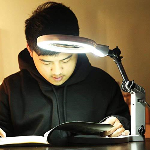 AZWE Lupe Led Light Hd Lupe, Desktop-Aufladung/Akku Dual Use Large Lens 1,5X5 mal weiß - Dual Lens Hd Light