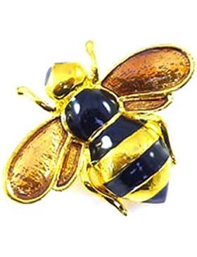Brooches Store Brosche in Bienen-Design, klein, vergoldet, schwarze Emaille